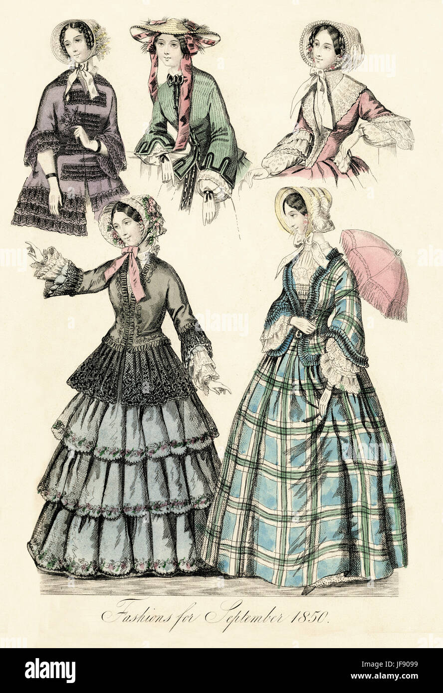 Fashion page from September 1850 edition of The New Monthly Belle Assemblee.  Hand coloured fashion plate.  Shows - Stock Image