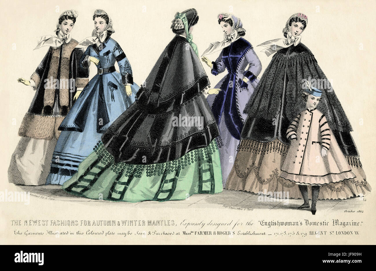 The Newest Fashions for Autumn &  Winter  Mantles. Expressly designed for the Englishwoman's Domestic Magazine, - Stock Image