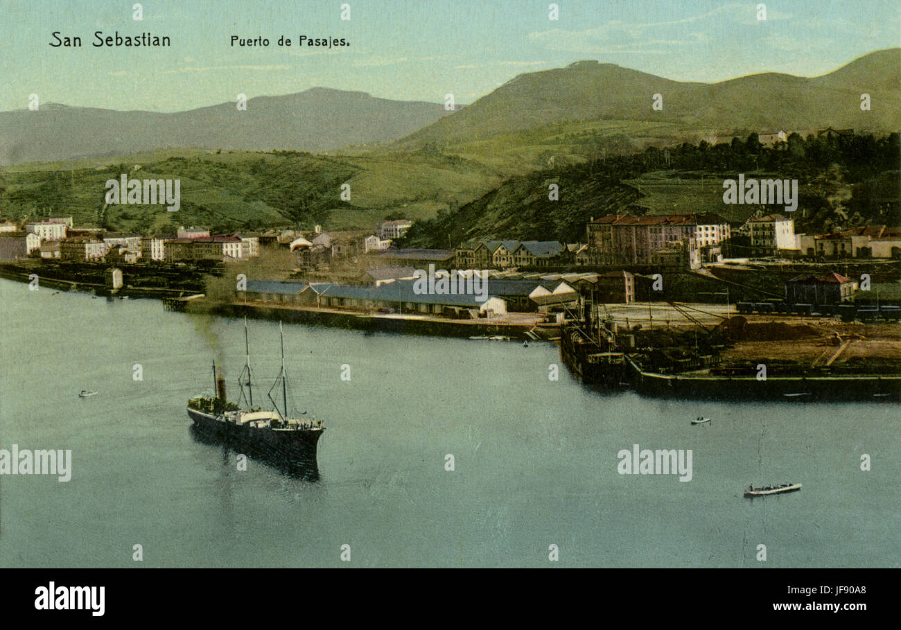 Puerto de Pasajes, port in San Sebastian, Spain. Early 20th century - Stock Image