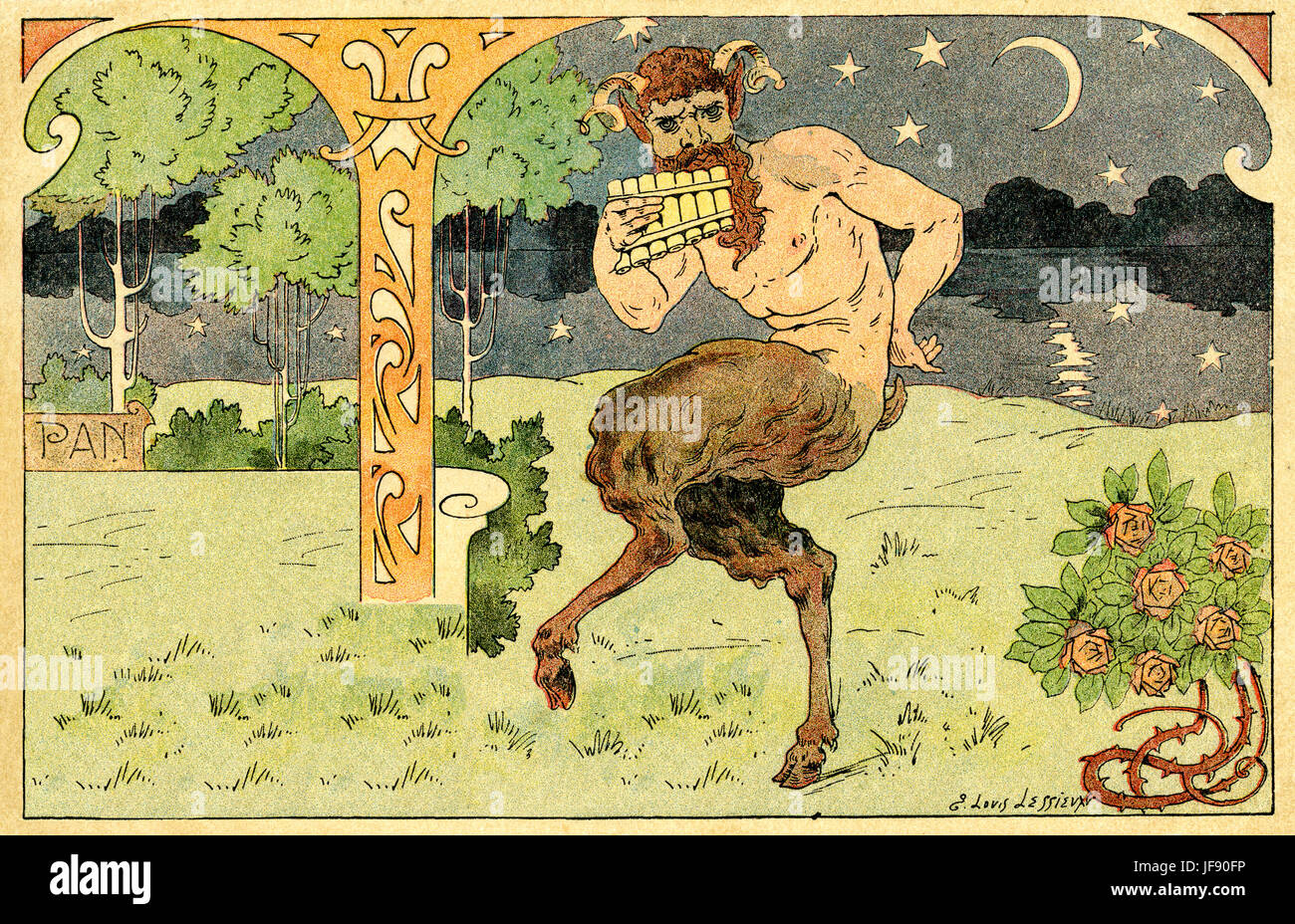 Pan playing his pipes (panpipes). From ancient Greek religion he is  god of the wild, shepherds and flocks, naturw, - Stock Image