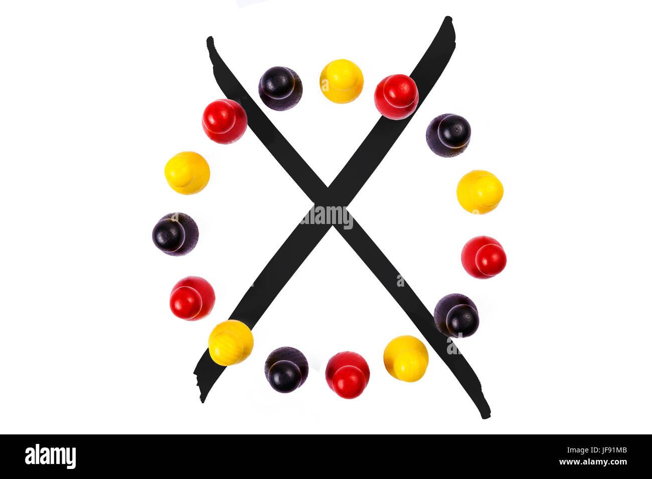 Figures and optional cross (german flag) - Stock Image
