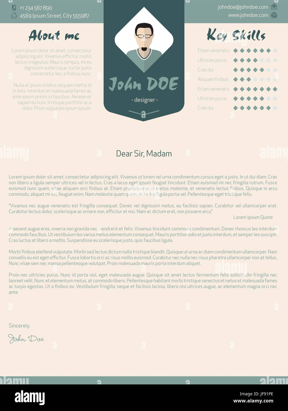 Modern Cover Letter Design With Details