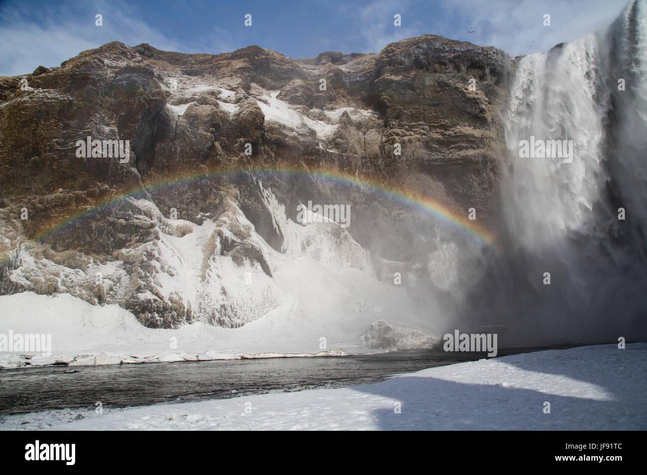 Skogafoss waterfall, Iceland - Stock Image