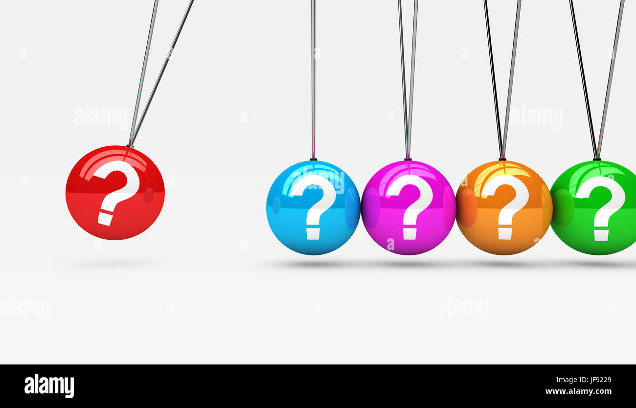 Question mark symbol and icon on colorful spheres customer service support questions concept 3D illustration. - Stock Image