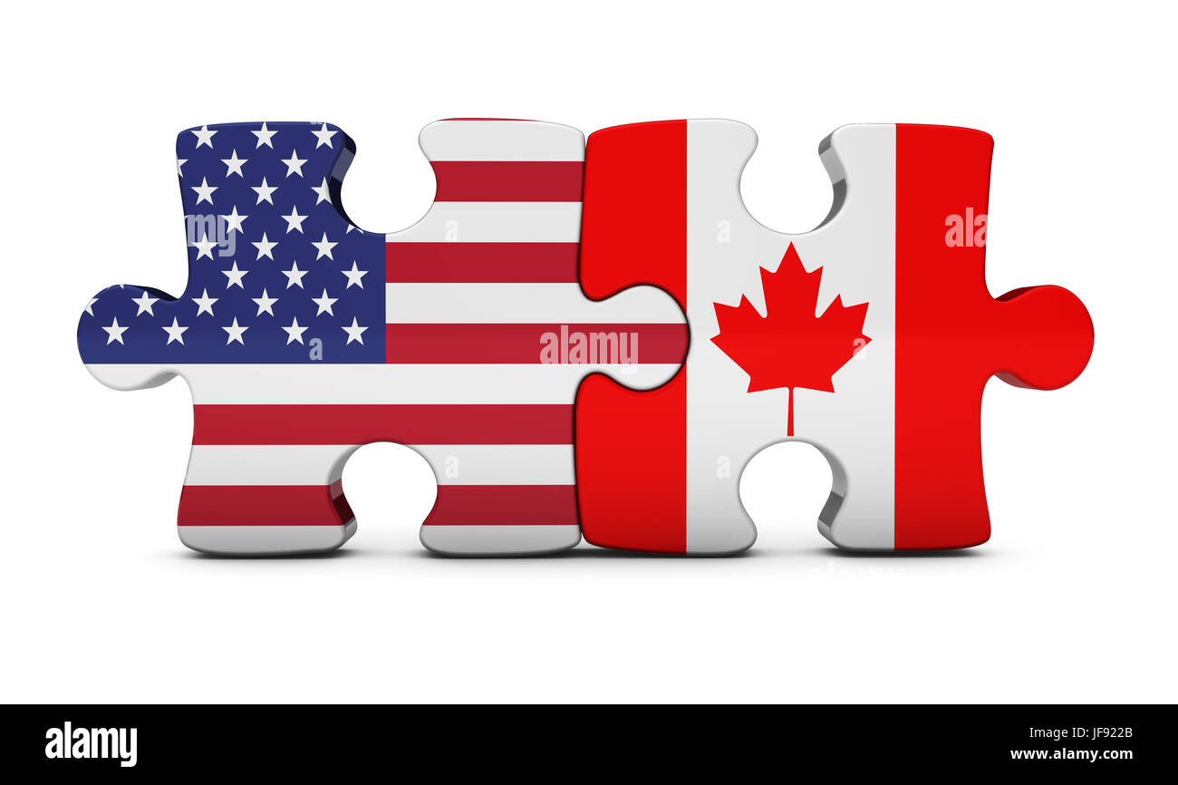 USA and Canada bilateral cooperation and trading relations concept with US and Canadian flag on puzzle pieces 3D - Stock Image