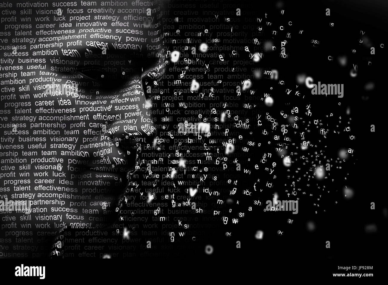 Man face blended with flowing list of motivational words. Concept of self motivation, future planning, intelligence. - Stock Image