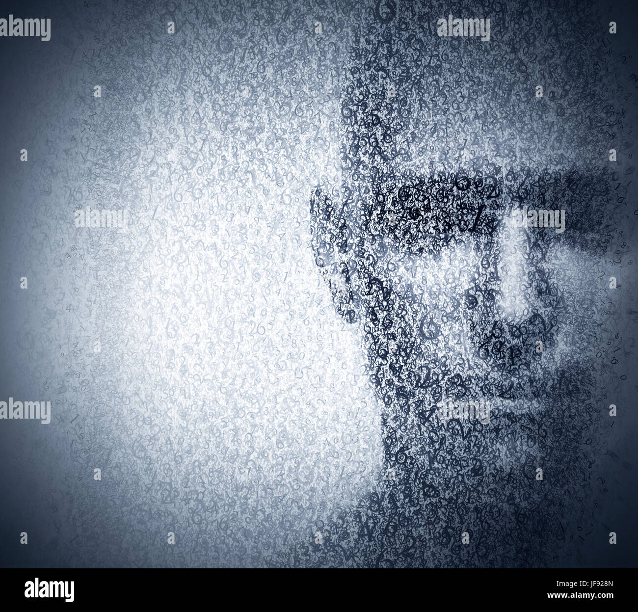 Man face blended with binary code digits. Concept of hacker, coding, programming, data protection etc. - Stock Image