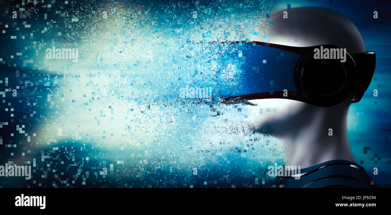 Into virtual reality world. Man wearing goggle headset. Future technology. 3D rendering - Stock Image