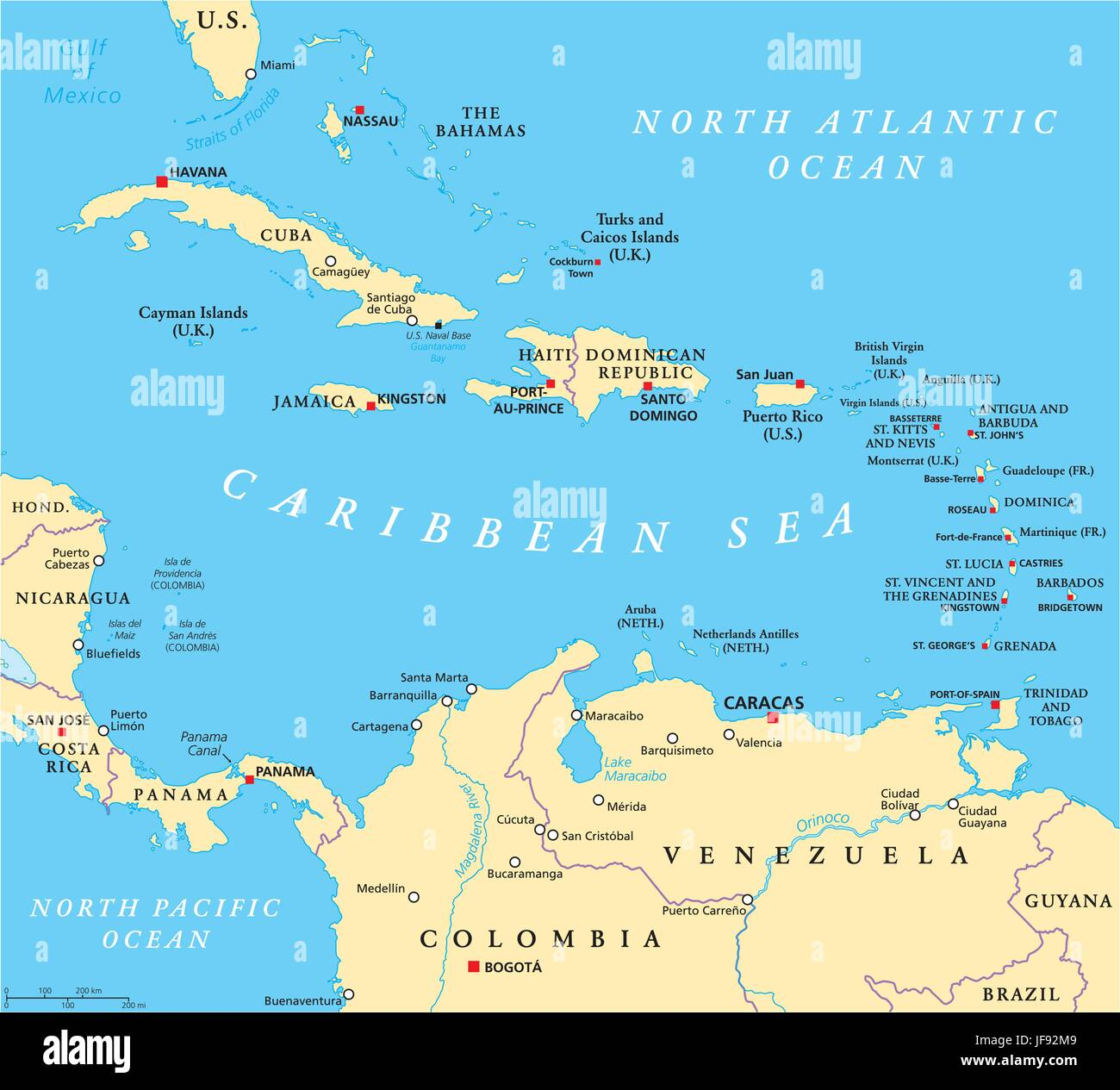 Caribbean Political Map Stock Vector Art & Illustration, Vector ...