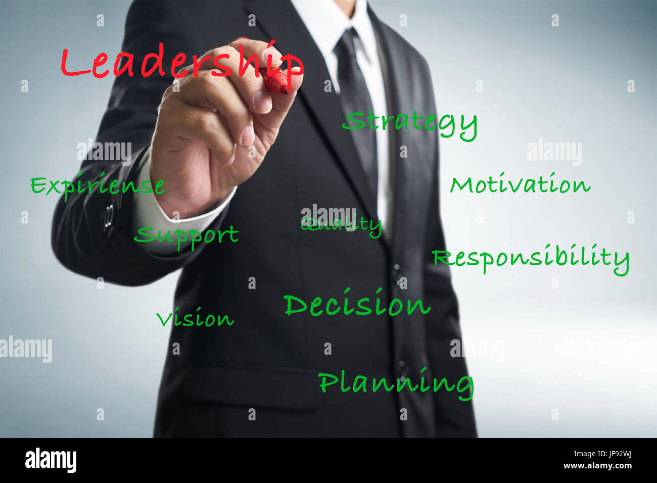 Businessman writing leadership skill concept on trasparent screen . - Stock Image