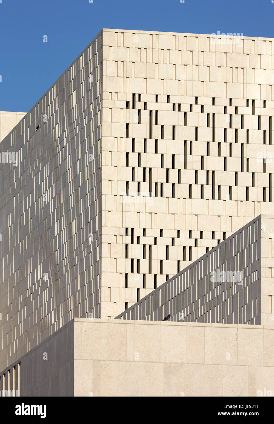 Detail of exterior stone facade  The Cultural Forum, Doha, Qatar