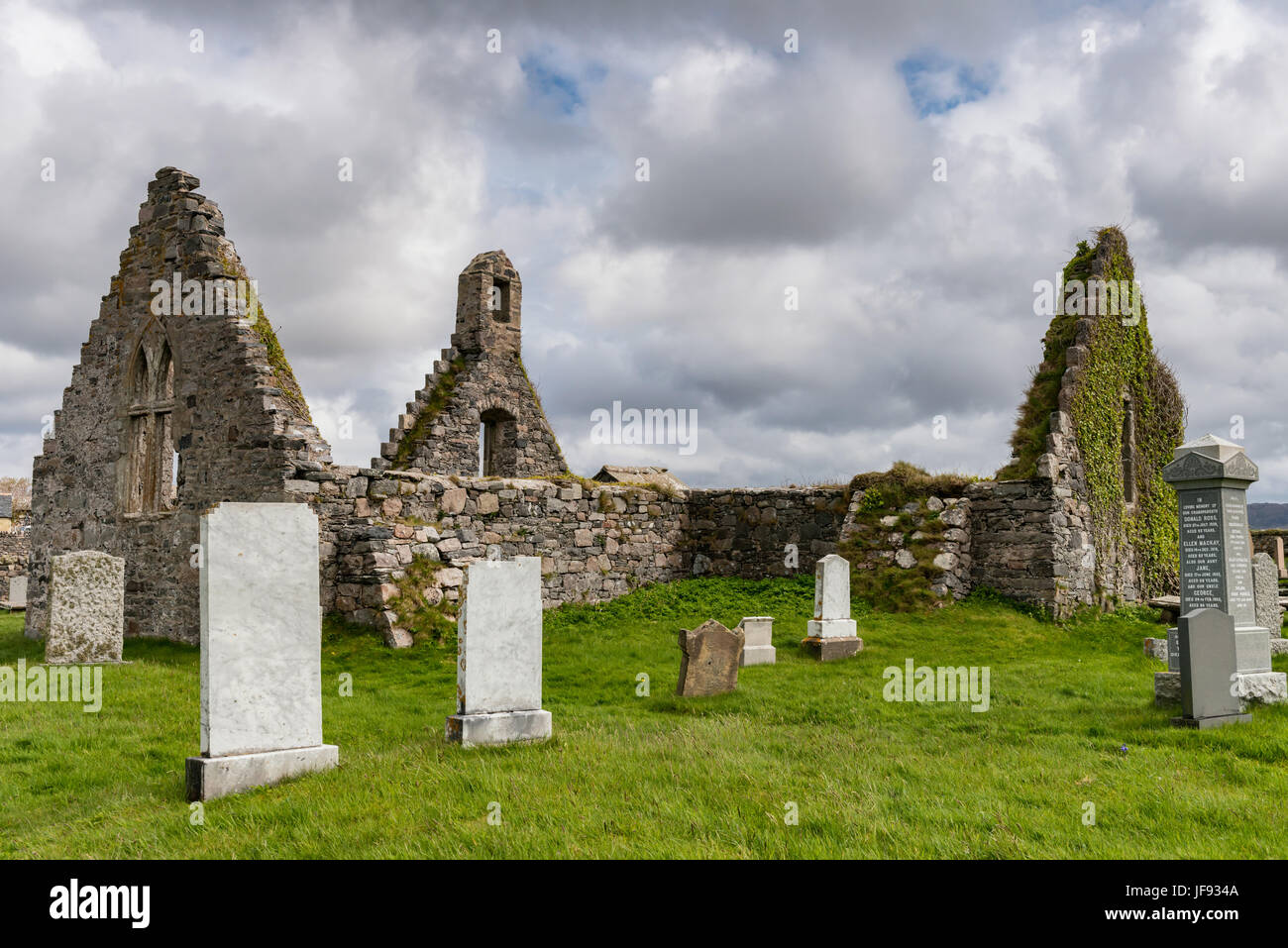 The ruined church at Balnakeil Bay - Stock Image