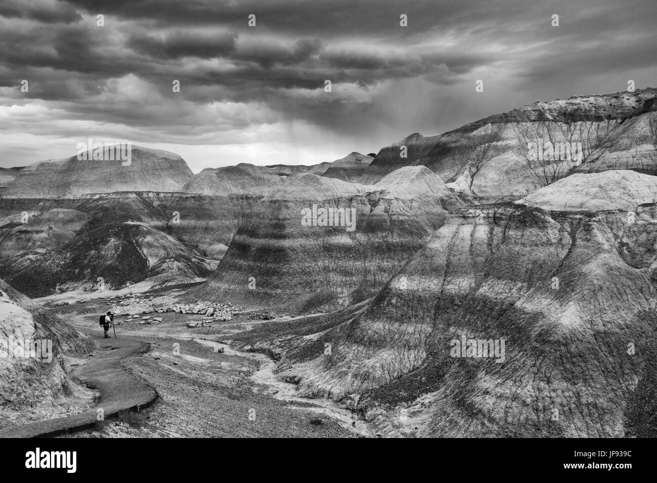 A lone photographer on the Blue Mesa trail amid majestic mesas. Black and white- Petrified Forest National Park Stock Photo