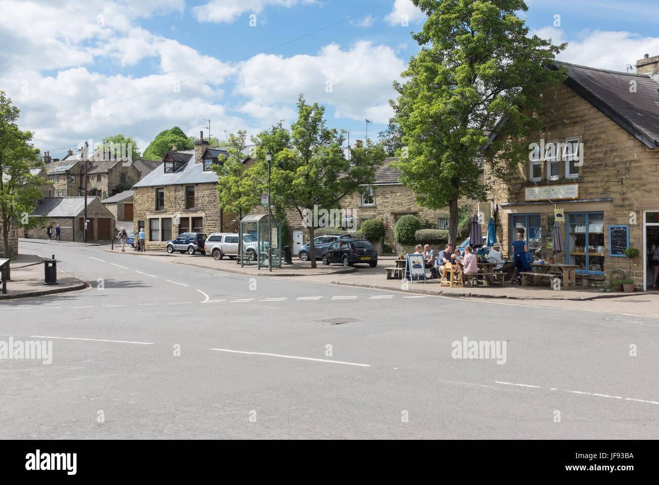 The centre of Eyam village in the Derbyshire Peak District - Stock Image