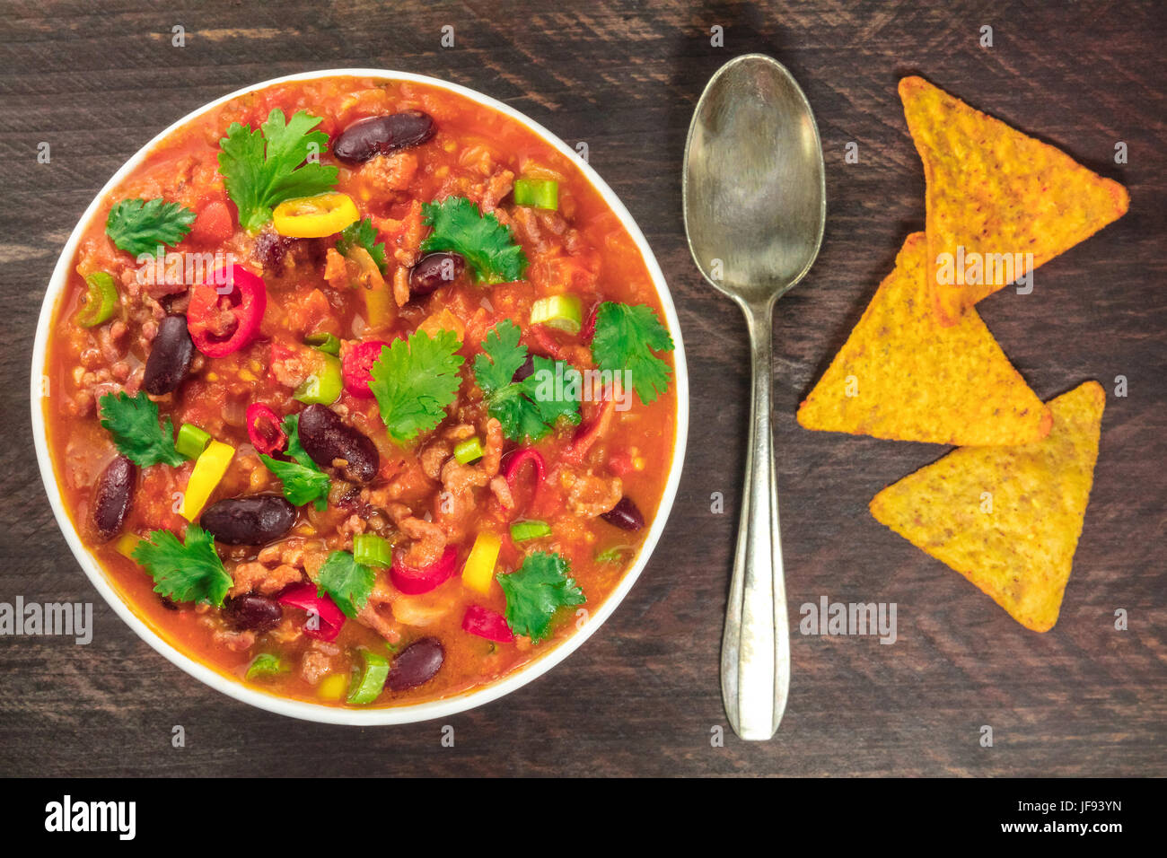 Chili con carne, traditional Mexican dish, with copyspace - Stock Image