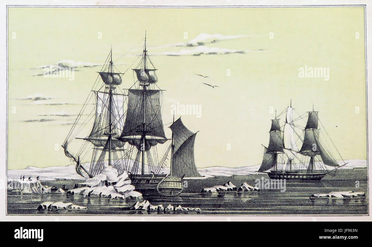 JOHN FRANKLIN (1786-1847) Royal Navy officer and Arctic explorer. Two rescue supply ships the Franklin (left) and - Stock Image