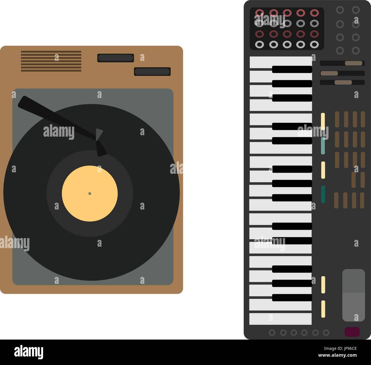 Cartoon musical Instrument set. Gramophone, synthesizer - Stock Image