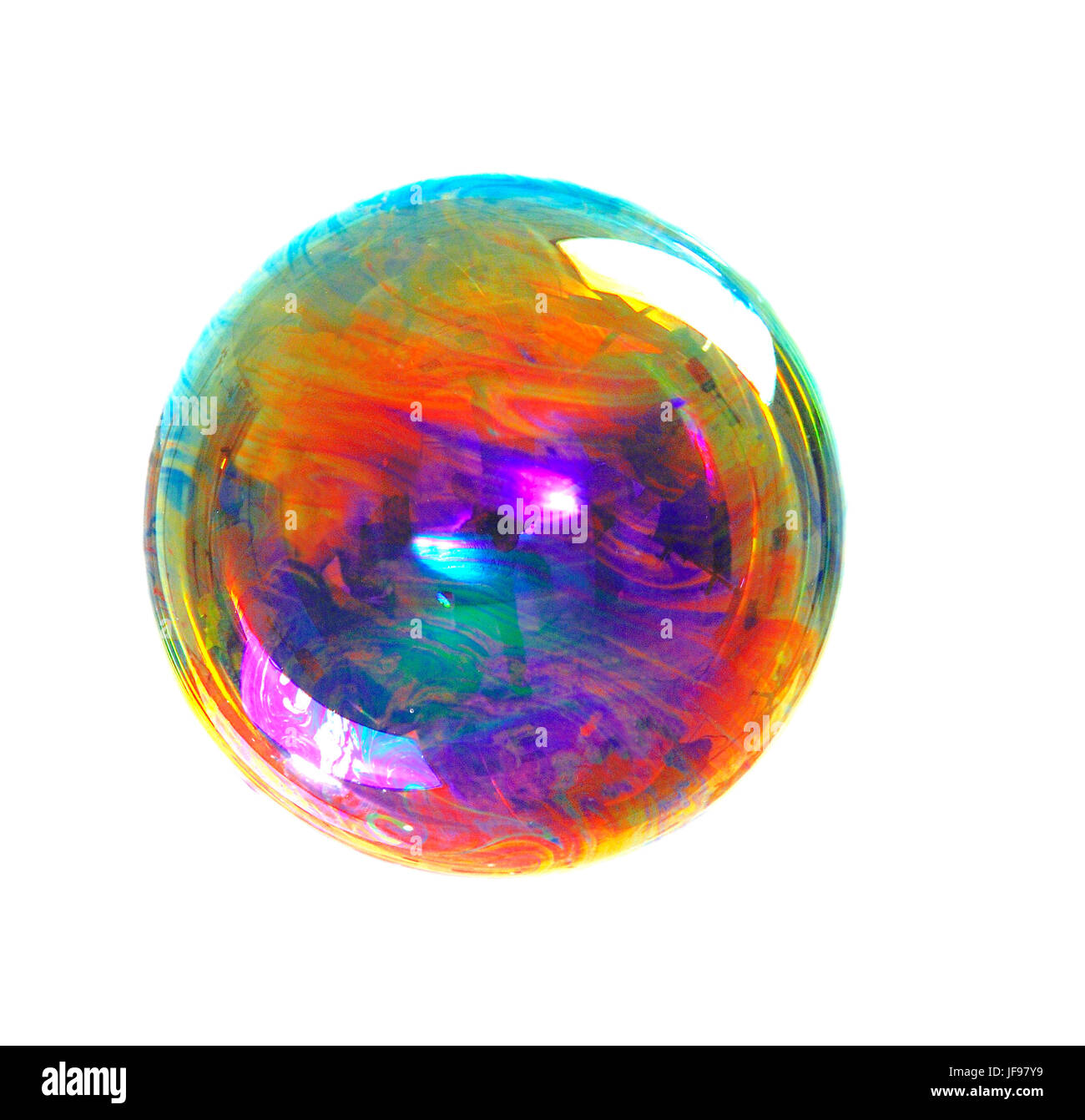 a soap bubble with many colors, colors contrast, color image - Stock Image