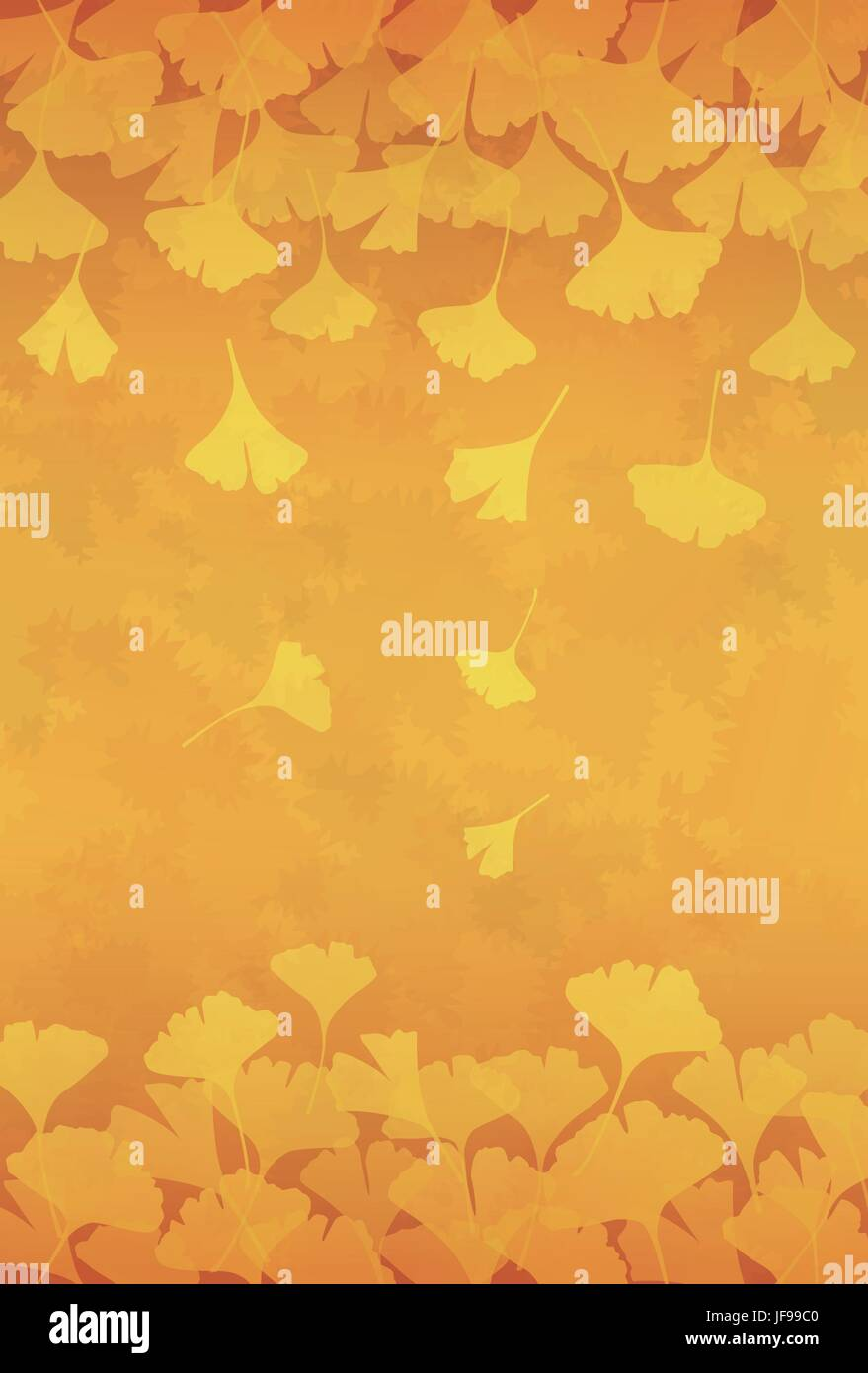 Yellow ginkgo leaves background illustration Stock Vector Art ...