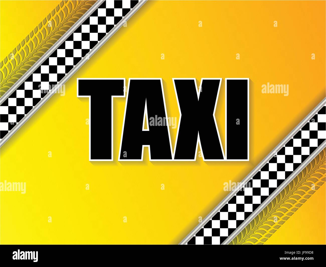 Taxi company advertising with tire tread and metallic elements - Stock Vector