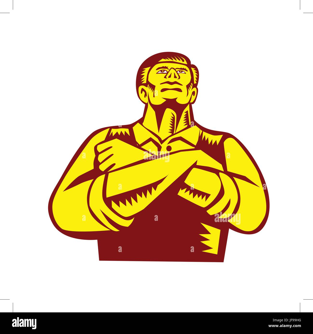 Businessman Arms Crossed Woodcut - Stock Image
