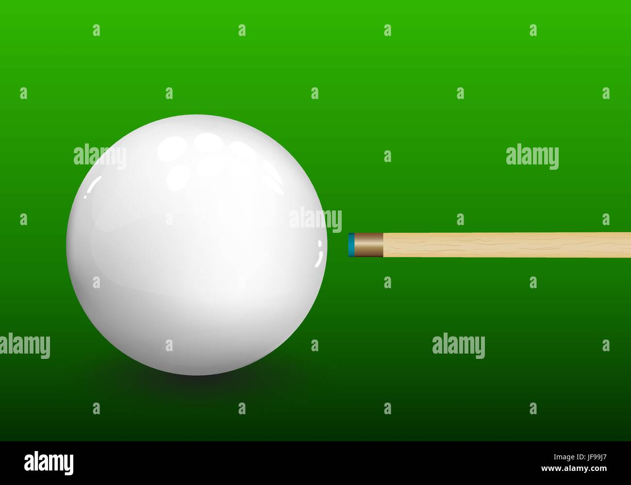 Billiard Cue Aiming on Ball - Stock Vector