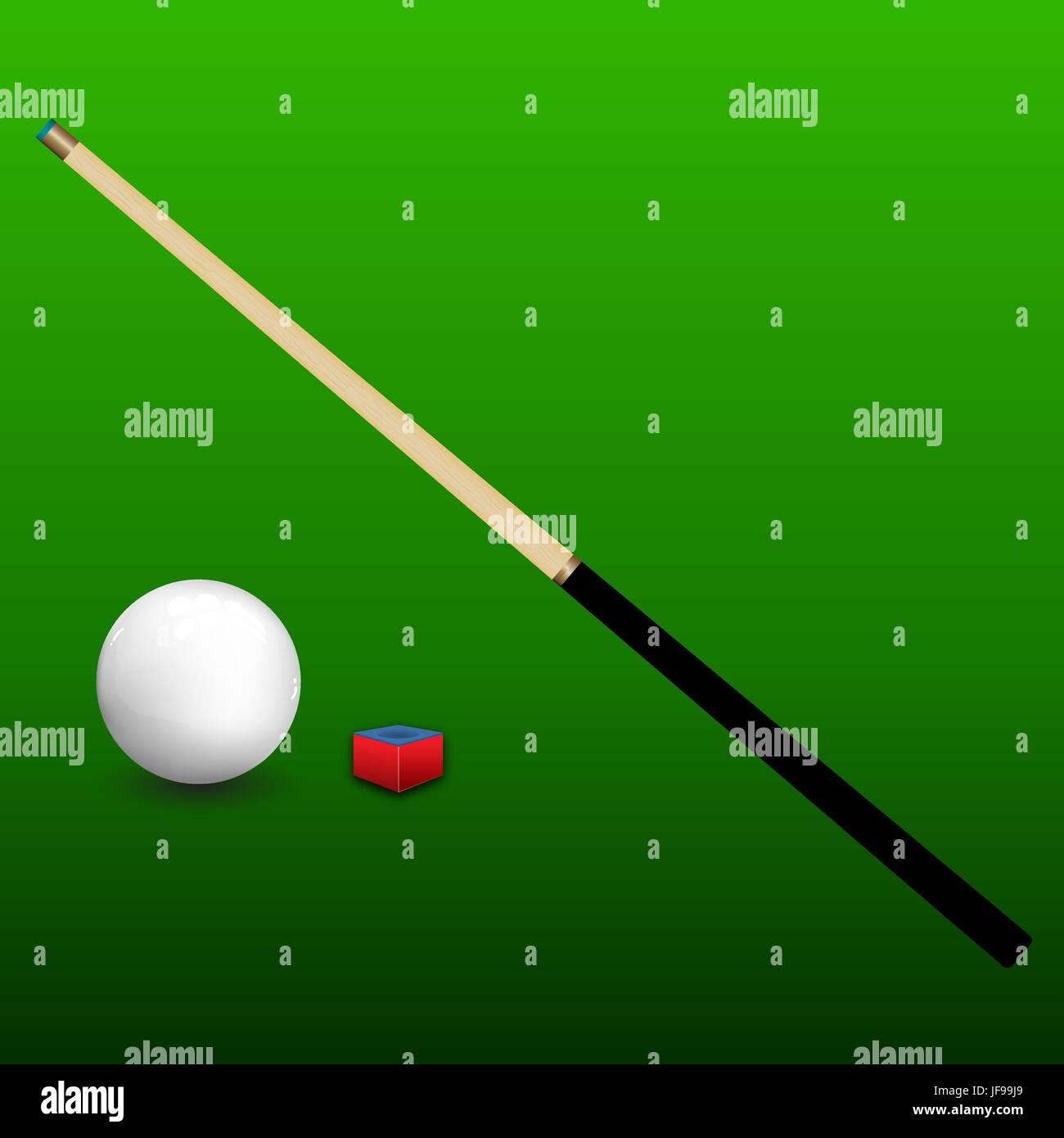 Billiard Cue, Ball and Chalk - Stock Vector