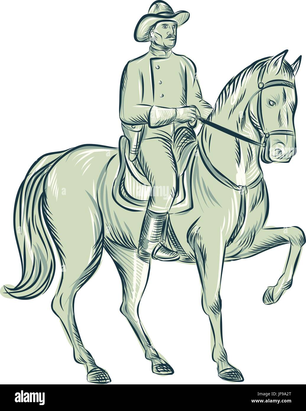 Cavalry Officer Riding Horse Etching - Stock Vector