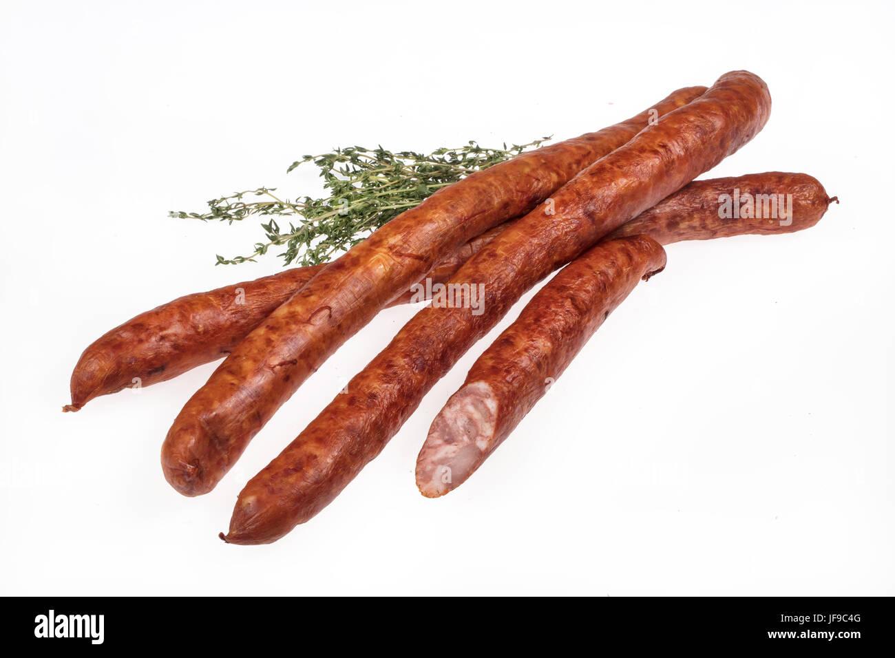 Sausage With Greenery - Stock Image