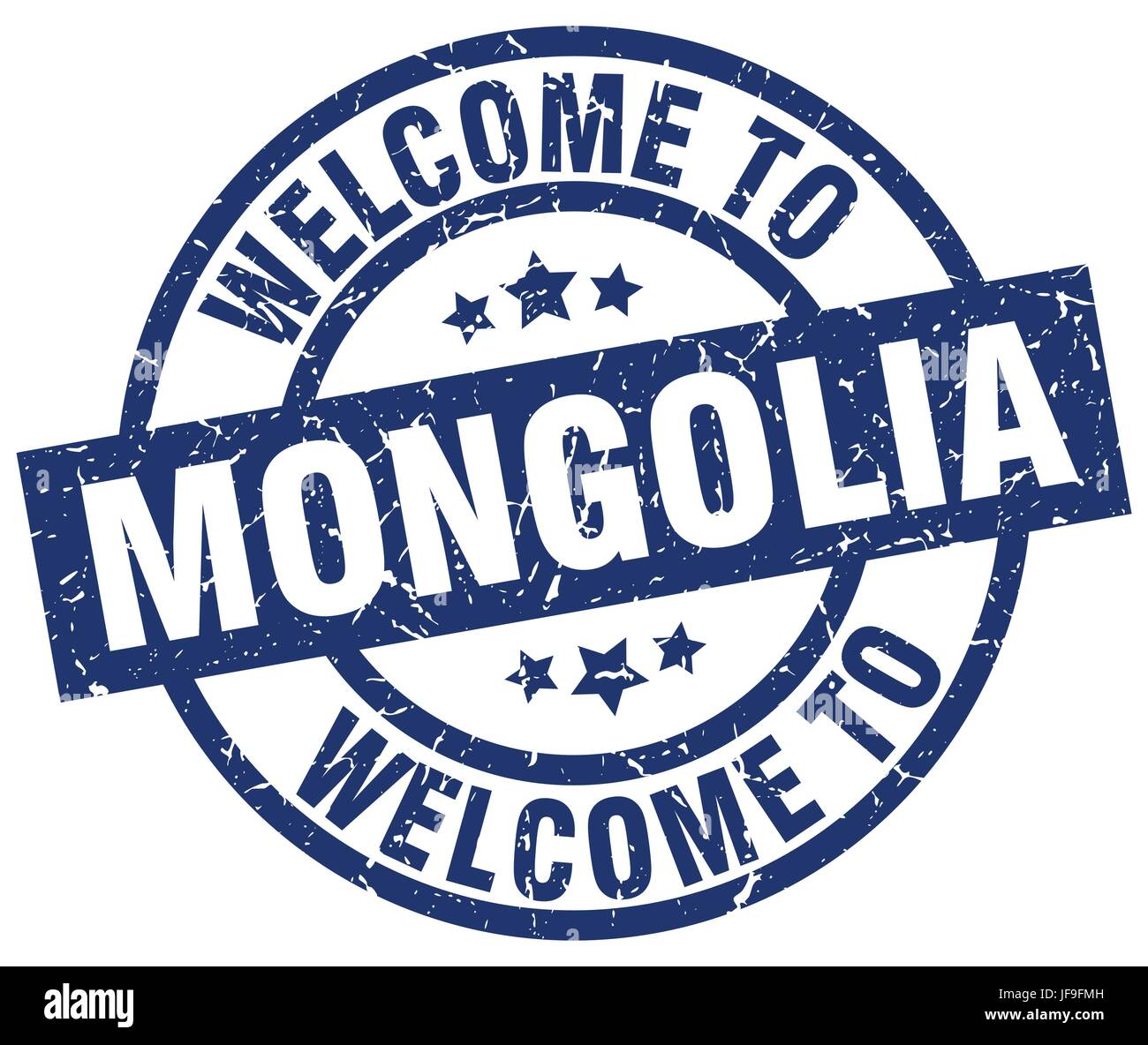 welcome to Mongolia blue stamp - Stock Vector