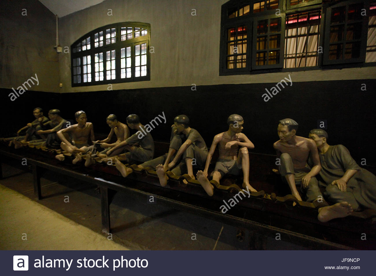 An exhibition inside the Hoa Lo Prison, originally used by French colonists political prisoners in Vietnam, and - Stock Image