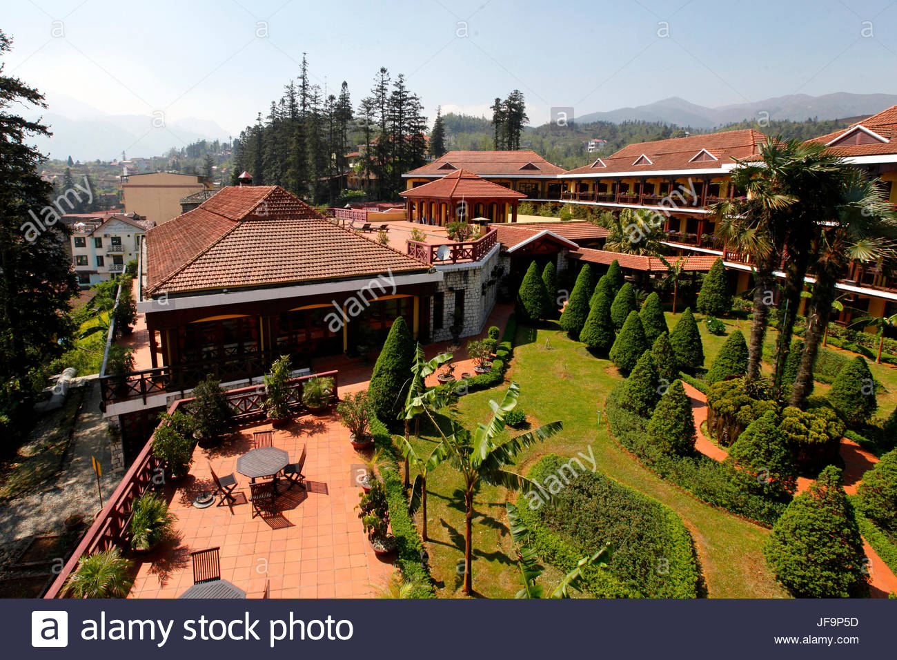 The grounds of the Victoria Sapa Resort and Spa. Stock Photo