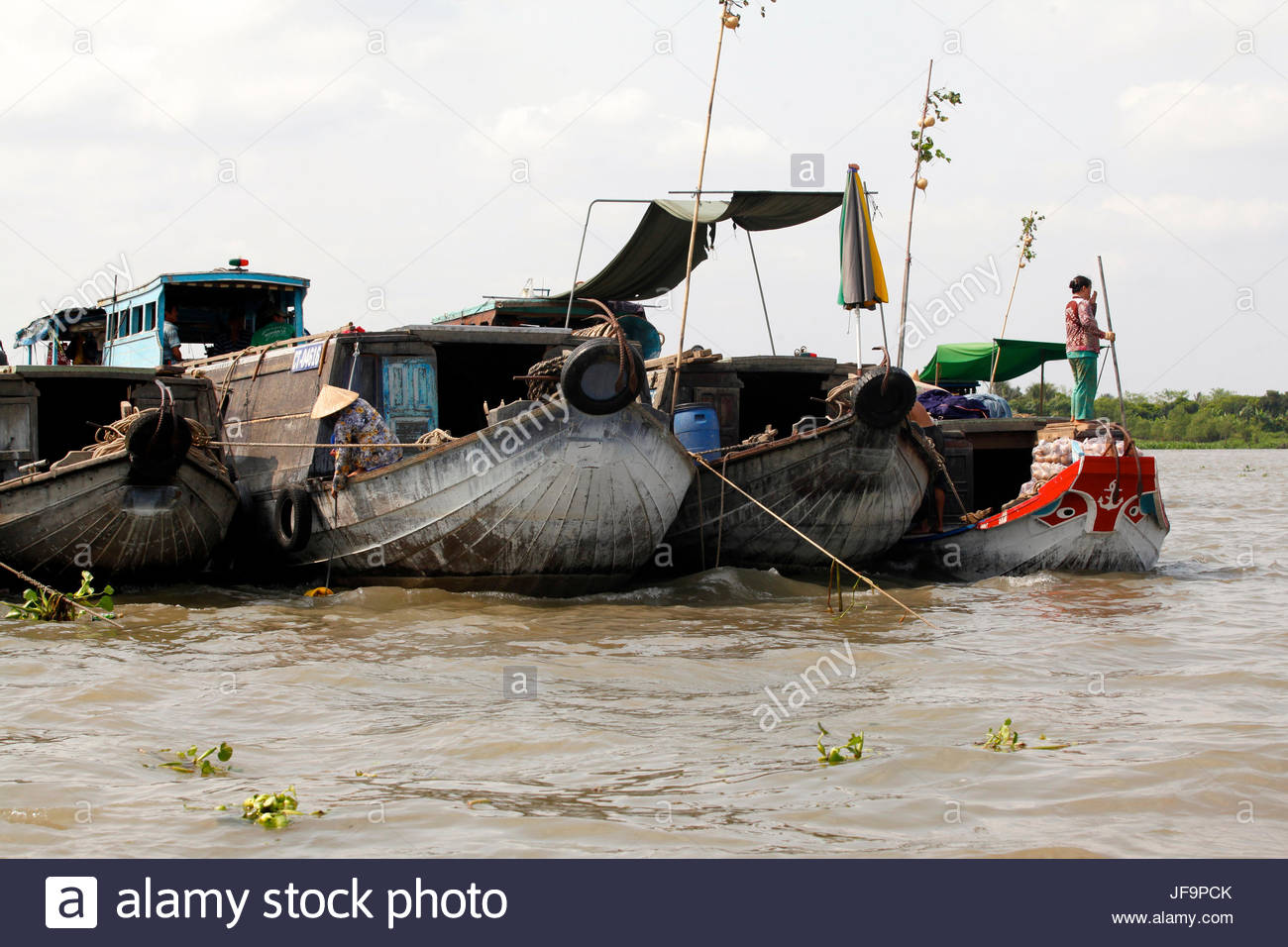A woman stands on a boat in the Mekong River Delta. - Stock Image