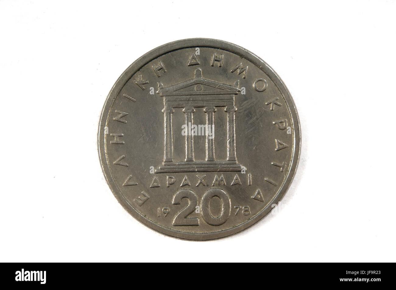 Greek Drachma Coin, 20 drachmas 1978 - Stock Image
