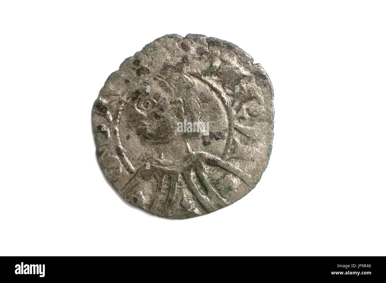 a Spanish medieval coin, king Pedro IV, dinero - Stock Image
