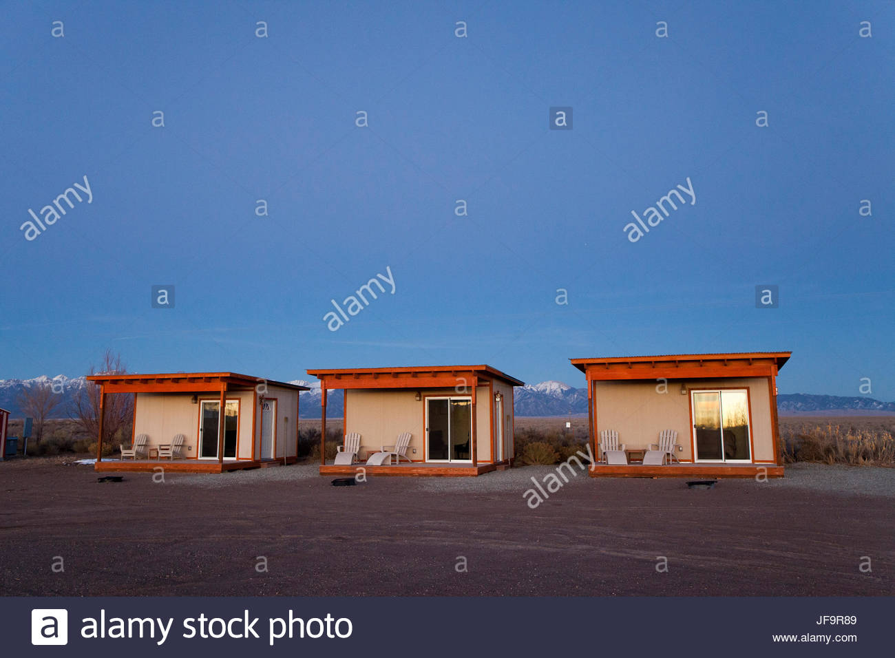 Tourist rental cabins at an RV campground in Hooper which