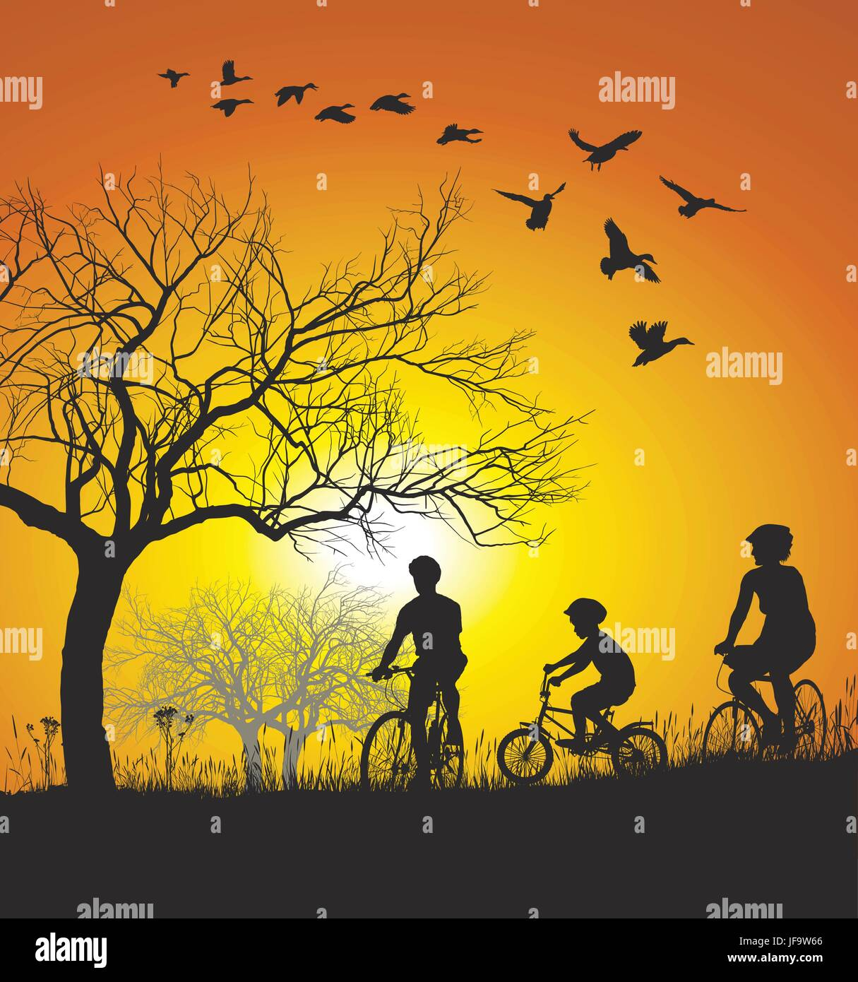 woman, tree, cyclist, vector, bike, bicycle, cycle, boy, lad, male youngster, - Stock Vector
