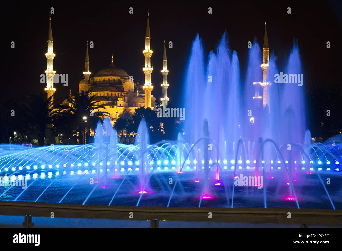 Blue Mosque in Istanbul at Night - Stock Image