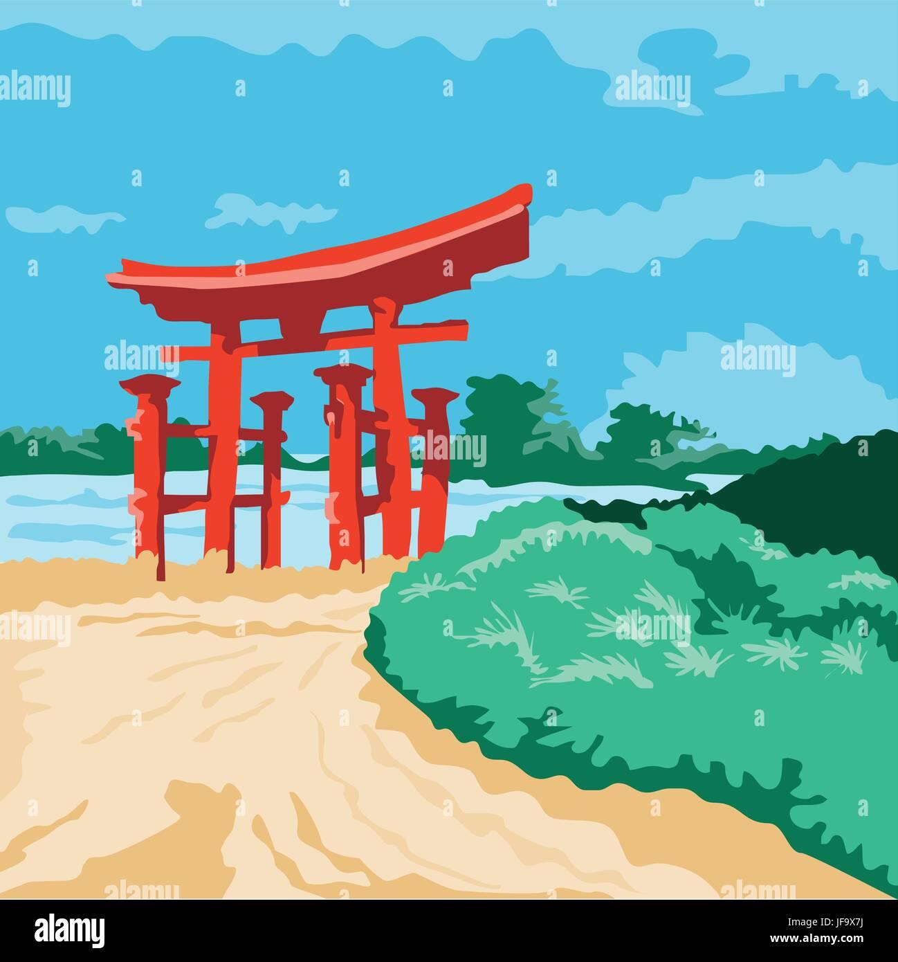 Torii Japanese Gate WPA - Stock Vector