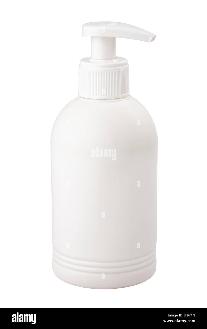 white plastic container for medicine cosmetic - Stock Image
