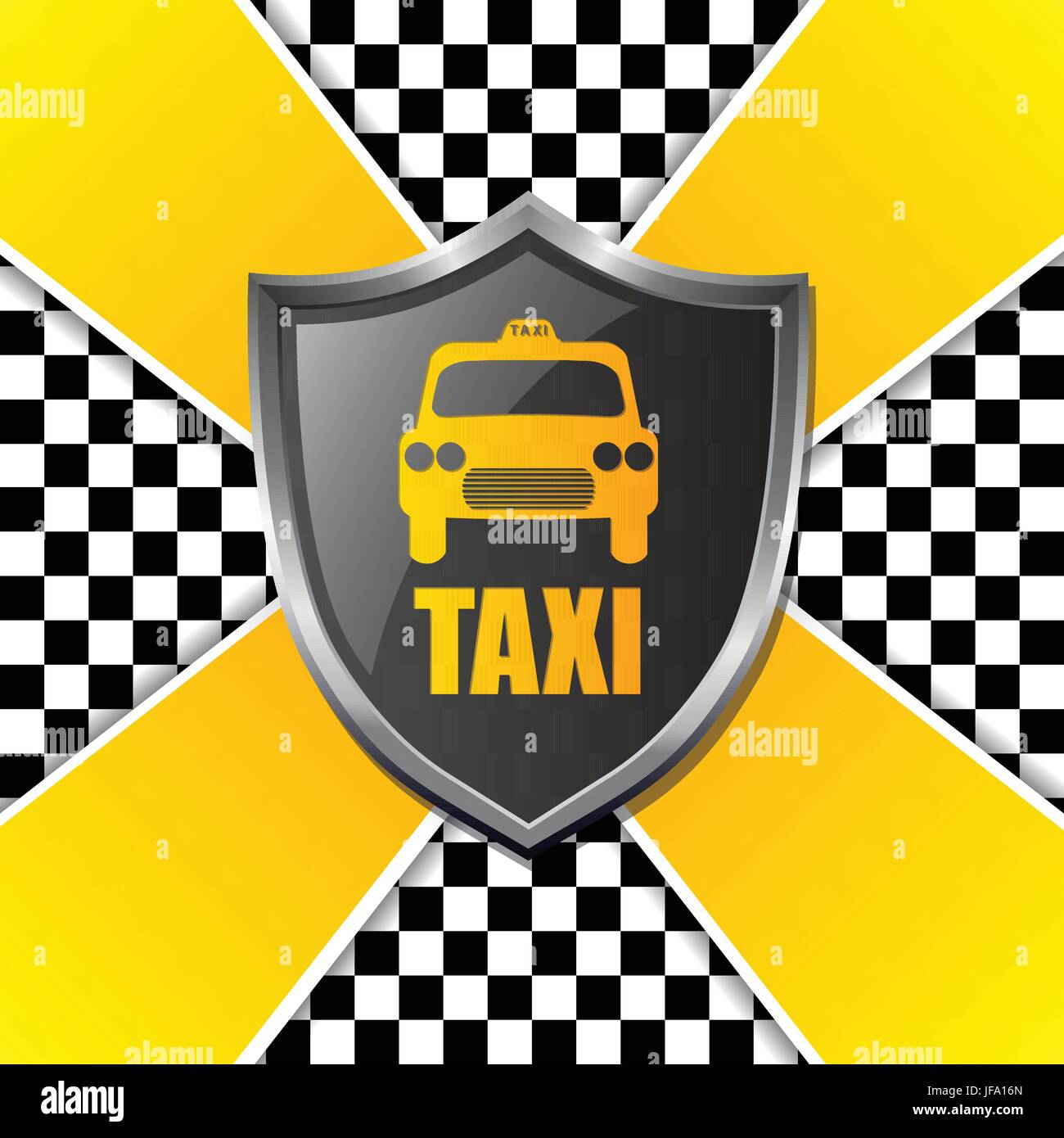 Abstract taxi background design with shield and stripes Stock Vector