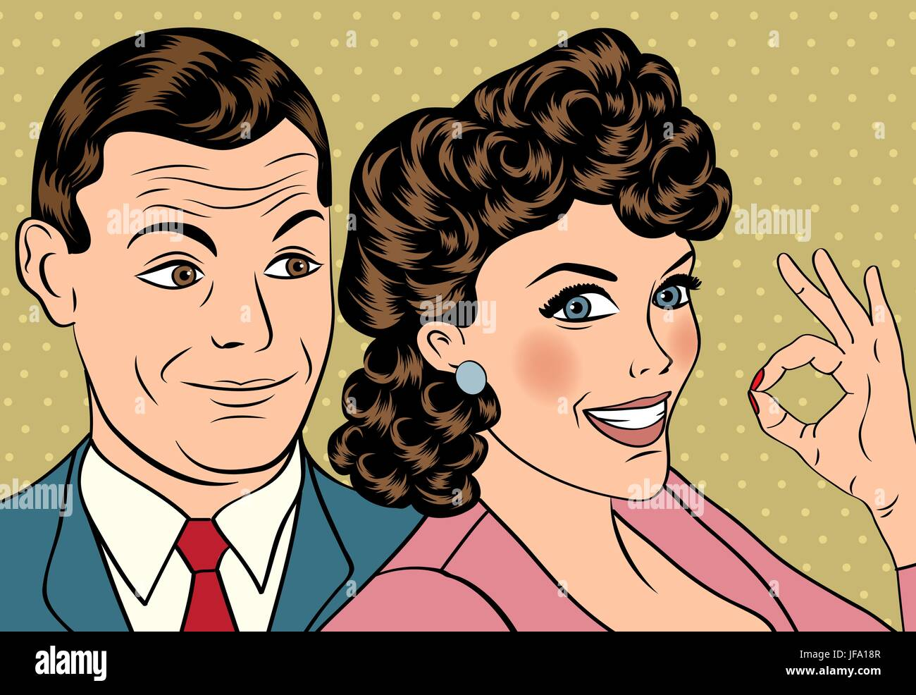 Man and woman love couple in pop art comic style - Stock Vector