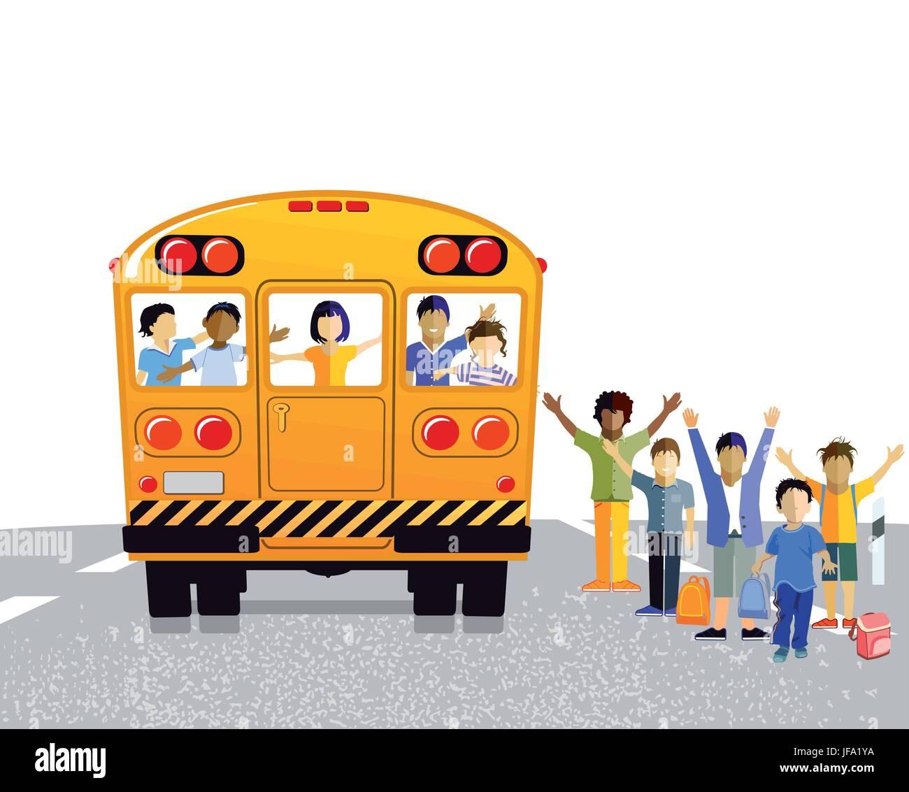school bus with schoolchildren - Stock Vector