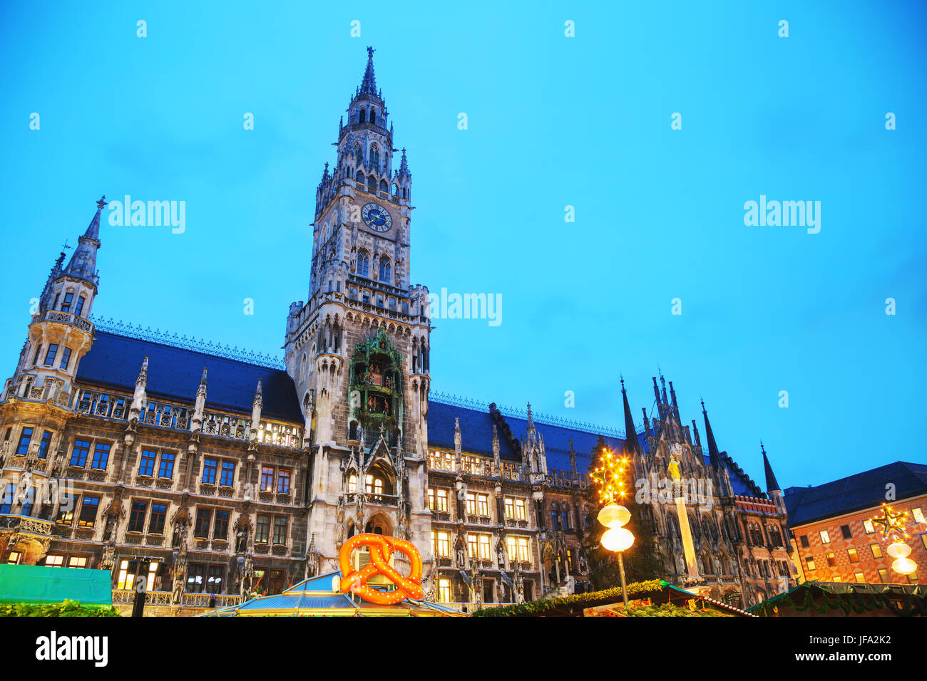 Overview of Marienplatz in Munich Stock Photo