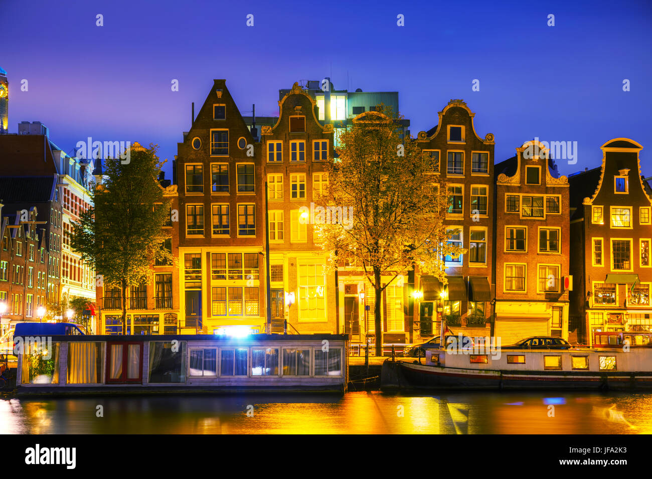 Amsterdam city view with Amstel river - Stock Image