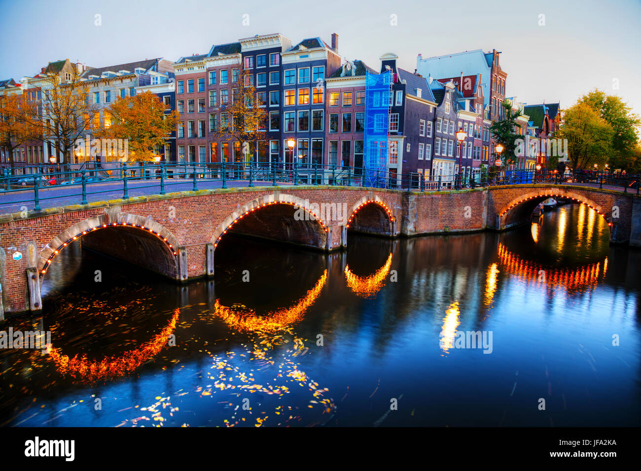 Amsterdam city view with canals and bridges - Stock Image