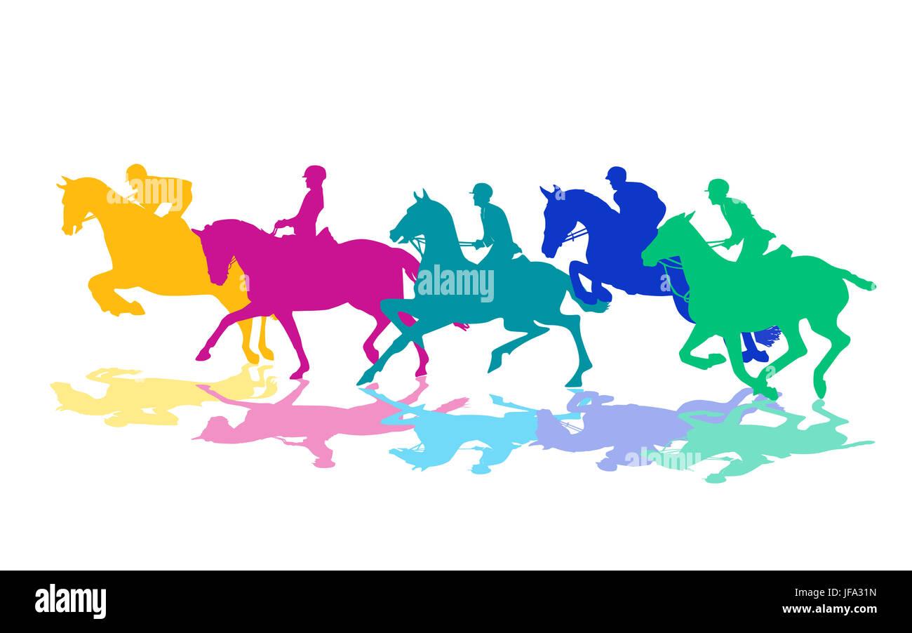 Horsemen riding with horses Stock Photo