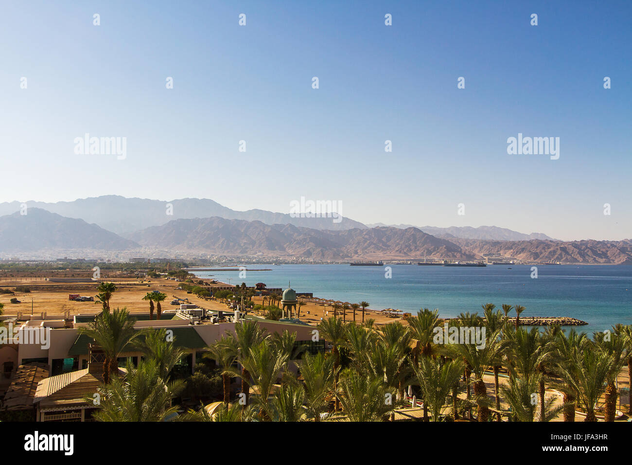View on Aqaba sea port . Red Sea . - Stock Image