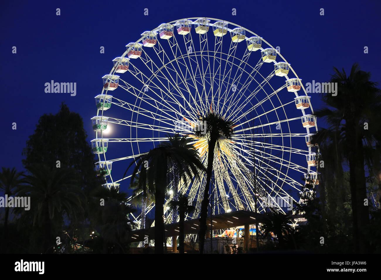 Ferris wheel in Nice at night - Stock Image