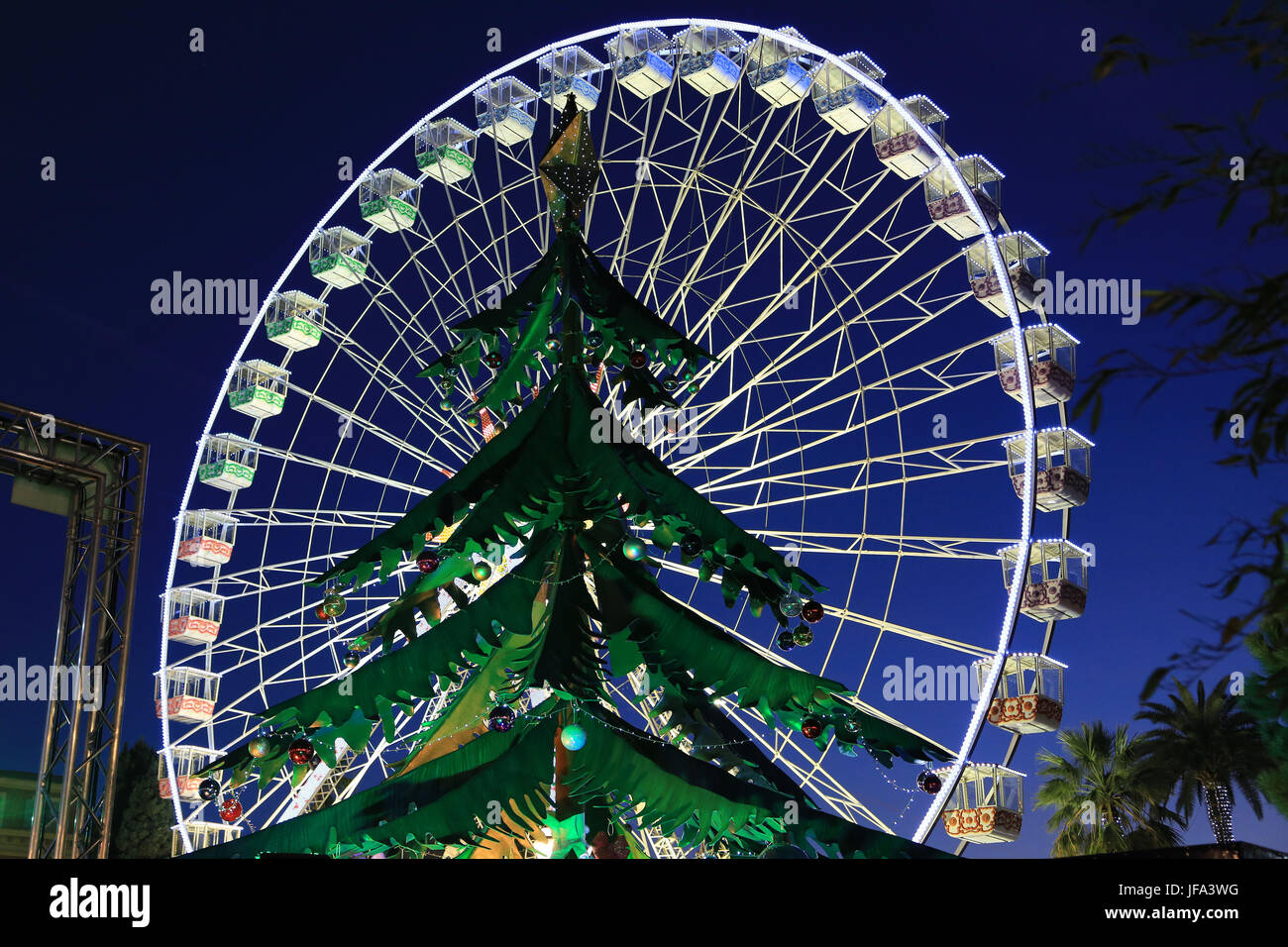 Ferris wheel in Nice at Christmas time Stock Photo